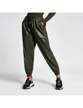 Petite Khaki Faux Leather Joggers by River Island