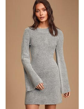 Chilly Days Heather Grey Knit Bell Sleeve Sweater Dress by Lulus