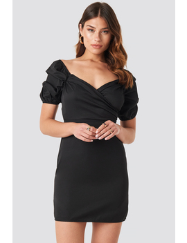Off Shoulder Puff Sleeve Mini Dress Schwarz by Na Kd Party