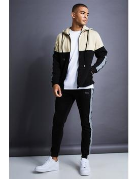 Man Skinny Fit Zip Reflective Detail Tracksuit by Boohoo