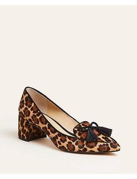 Rumer Cheetah Print Haircalf Tassel Block Heel Pumps by Ann Taylor