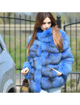 Women's Full Pelt 100% Genuine Fox Fur Coat Stand Collar Jacket Thick Overcoat by Bf