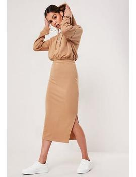 Camel Co Ord Loopback Midi Skirt by Missguided
