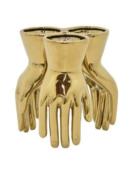 Three Hands Ceramic Hand Vase   Gold by Three Hands
