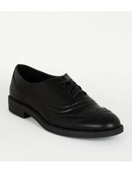 Black Leather Look Lace Up Brogues by New Look
