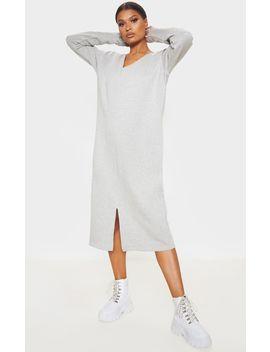 Grey Marl Oversized V Neck Split Front Sweat Midi Dress by Prettylittlething