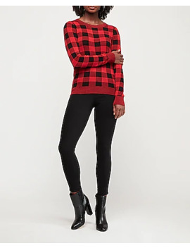 Fitted Check Print Sweater by Express