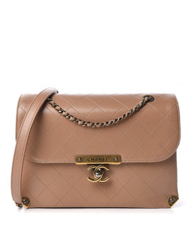 Chanel Shiny Lambskin Quilted Around The Corner Flap Beige by Chanel