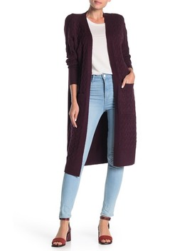 Cable Stitch Long Cardigan (Regular & Petite) by 14th & Union
