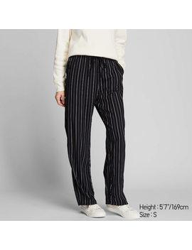 Pantalon DrapÉ Coupe Droite À Rayures Femme by Uniqlo