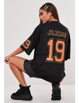 Jordan Lipscombe X Missguided Black Oversized Flame T Shirt by Missguided
