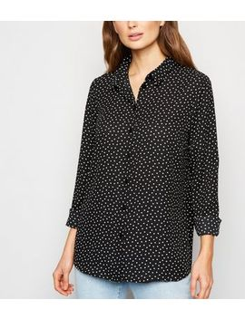 Tall Black Heart Print Long Sleeve Shirt by New Look