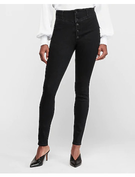 Super High Waisted Denim Perfect Black Button Fly Leggings by Express