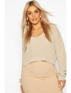 Plus V Neck Fisherman Crop Jumper by Boohoo