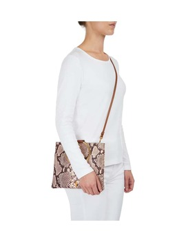 Le Pouch Snake Embossed Leather Ring Handle Crossbody Bag by Thacker