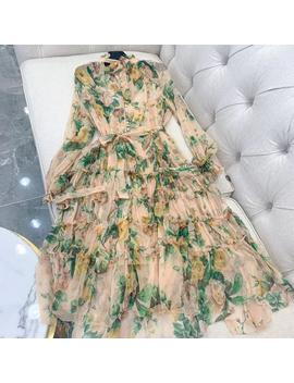 Women Long Printed Flower Dress High Quality Knee Length Dress 2019 New Women Fashion 100 Percents Silk  Dress by Ali Express.Com