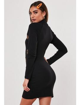 Jordan Lipscombe X Missguided Black High Neck Rib Dress by Missguided