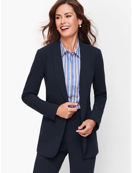 Easy Travel Collection   Long Shawl Collar Jacket by Talbots