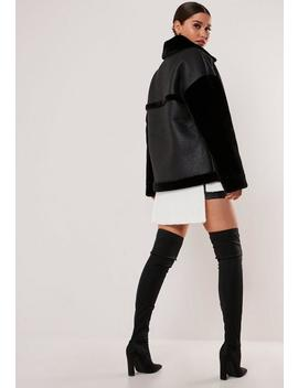 Black Faux Fur Sleeve Oversized Aviator Jacket by Missguided