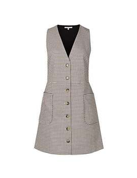 Dawn Brown Checked Pinafore Mini Dress by Olivar Bonas