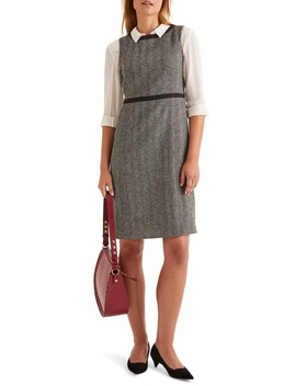 Carrie Herringbone Tweed Wool Dress by Boden