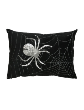 Black & Silver Sequined Spider Web Pillow By Ashland® by Ashland