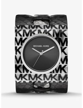 Willa Python Embossed Leather And Logo Acetate Watch by Michael Kors
