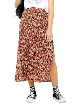 petite-floral-crystal-pleat-midi-skirt by topshop
