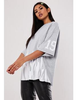 Jordan Lipscombe X Missguided Grey Oversized Flame T Shirt by Missguided