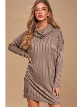 Morning Coffee Brown Ribbed Long Sleeve Cowl Neck Dress by Lulus