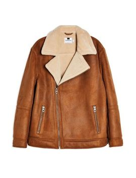 Tan Shearling Lined Biker Jacket by Topman