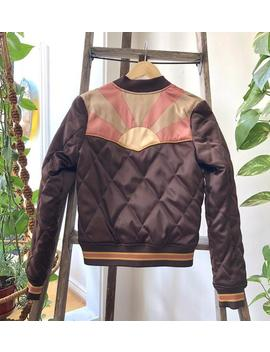 Preorder Brown Sugar Rising Sun Bomber Jacket | Quilted 70s Style Satin Fall Jacket 1970s Sunburst Chocolate Brown With Mustard And Mauve by Etsy