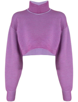 Merino Wool Blend Cropped Rib Knit Sweater by Nagnata