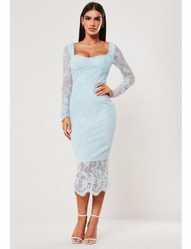 Blue Lace Long Sleeve Milkmaid Midi Dress by Missguided