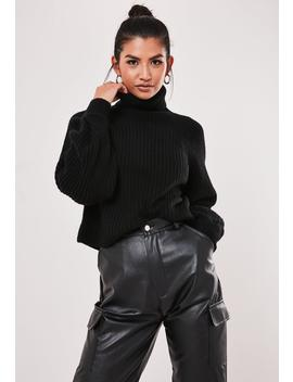 Black Rib Tuck Sleeve Roll Neck Sweater by Missguided