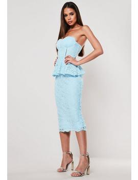 Blue Lace Cupped Peplum Bodycon Midi Dress by Missguided