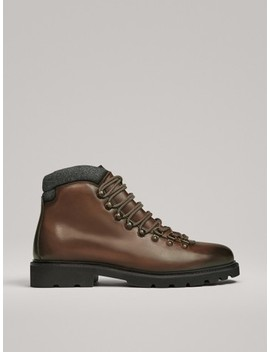 Brown Leather Mountain Boots by Massimo Dutti