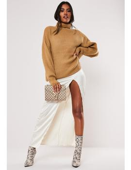 Premium Camel Boyfriend Roll Neck Knitted Sweater by Missguided