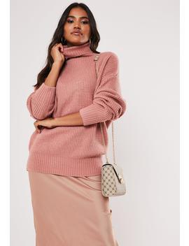 Premium Rose Boyfriend Roll Neck Sweater by Missguided