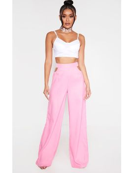 Candy Pink Cut Out Detail Wide Leg Trousers by Prettylittlething