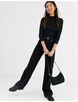 Monki – Yoko – Svarta, Vida Jeans I Ekologisk Bomull by Monki
