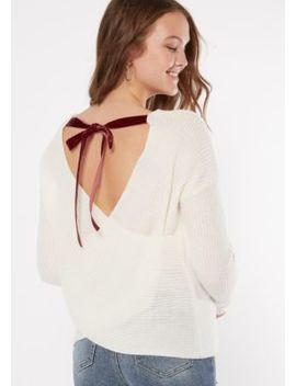 Ivory Envelope Ribbon Back Sweater by Rue21