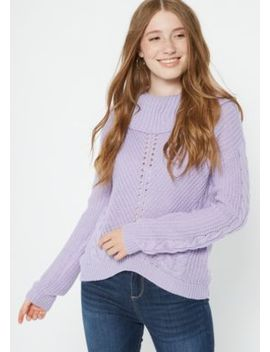 Lavender Cowl Neck High Low Sweater by Rue21