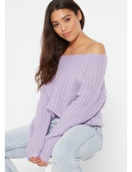 Lavender Chunky On Off Shoulder Sweater by Rue21