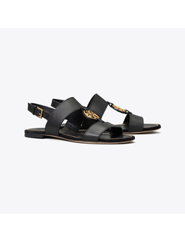 Miler Metal Logo Two Band Sandal, Leather by Tory Burch