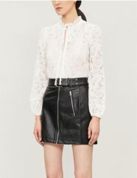 Guipure Tie Detail Lace Top by Maje