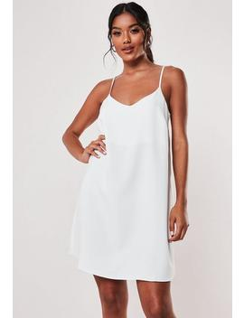 Petite White Crepe Cami Shift Dress by Missguided