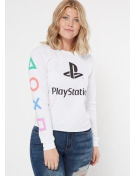 White Play Station Long Sleeve Graphic Tee by Rue21