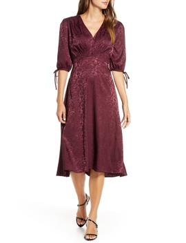 Tie Sleeve Satin Jacquard Midi Dress by Maison Tara