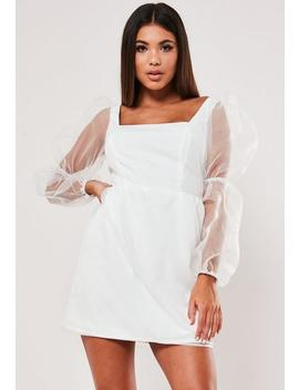 White Organza Puff Sleeve Skater Dress by Missguided
